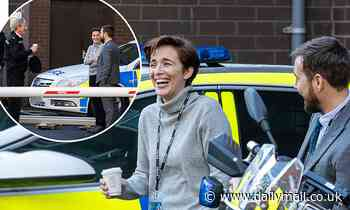 Line of Duty's Vicky McClure, Adrian Dunbar and Martin Compston share a joke between takes