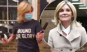 Anthea Turner enjoys a quick boogie while getting a fresh trim at the hairdressers