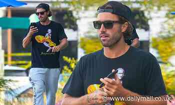 Brody Jenner shows off toned forearms in Aerosmith T-shirt in Malibu