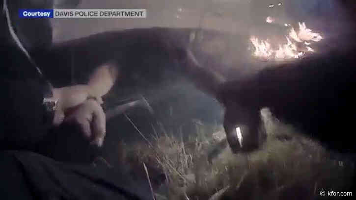 California officer's bodycam video shows harrowing rescue of woman from burning car