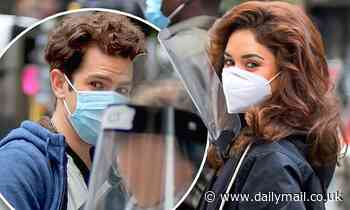 Andrew Garfield and Vanessa Hudgens keep masks and face shields at on set of Tick, Tick...Boom!