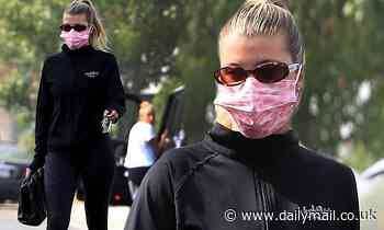 Sofia Richie is sporty chic in an all black workout ensemble after a yoga class in West Hollywood