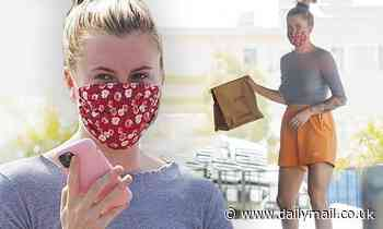 Ireland Baldwin sports a grey crop top with bright orange shorts to pick up tacos in Los Angeles
