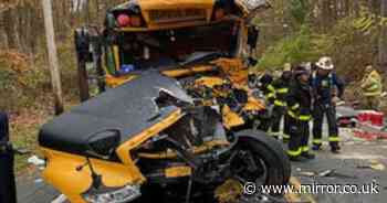 New York school bus crash - at least 12 injured and child in critical condition