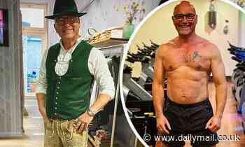 Gregg Wallace displays his slimmed down physique in a Bavarian costume
