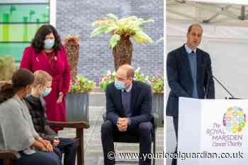 Pictures show Prince William at The Royal Marsden in Sutton