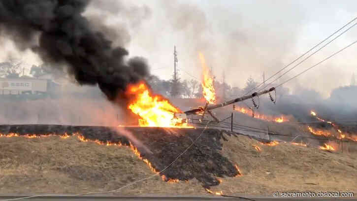 I-80 Blocked Near Newcastle After Crash Knocks Down Power Lines, Starts Fire