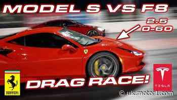 Tesla Model S Performance loses to Ferrari F8 Tributo in drag race
