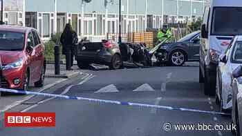 Southwark police car crash: Man charged after four officers injured
