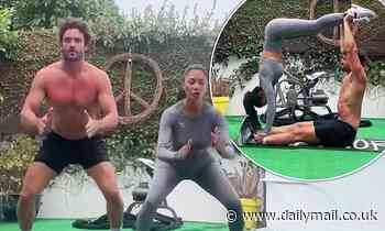 Nicole Scherzinger moves in perfect sync with shirtless beau Thom Evans in couples' workout