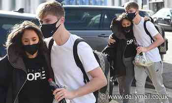 Strictly's HRVY gives Janette Manrara a hug as they arrive at rehearsals