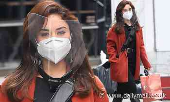 Vanessa Hudgens arrives on set of Tick, Tick...Boom! sporting full protective gear and nineties glam
