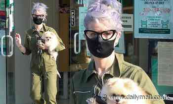 Kelly Osbourne wears green jumpsuit and sports purple hair as she picks up  Pomeranian from groomer