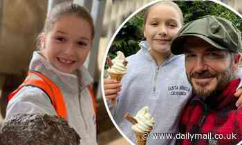Smiling Harper Beckham and David become zoo keepers for the day