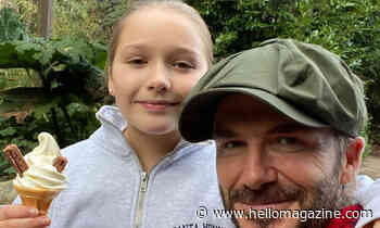 David Beckham accompanies 'Princess' Harper as she takes on important role as Junior Zoo Keeper