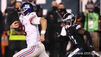 New York Giants quarterback Daniel Jones tackled by the turf after 80-yard run