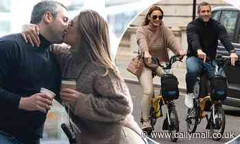 Sam Faiers packs on the PDA with beau Pal Knightley during a romantic bike ride in London