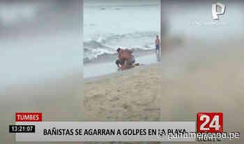 Captan a dos sujetos agarrándose a golpes en el balneario de Zorritos | Panamericana TV - Panamericana Televisión