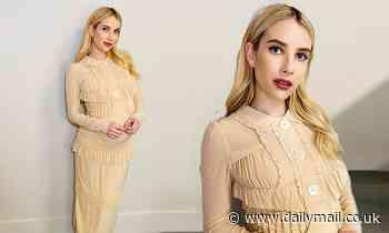 Holidate: Pregnant Emma Roberts wears ruffles on virtual press tour