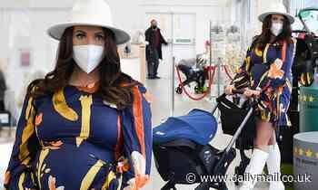Pregnant Charlotte Dawson goes shopping in blue maternity wrap dress
