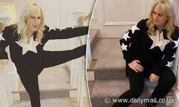 Rebel Wilson flaunts her trim pins as she stretches following her impressive 20kg weight loss