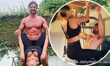 Nicole Scherzinger sizzles in busty sports bra with hunky beau Thom Evans in a couples' workout