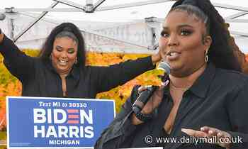 Lizzo advocates for civic duty in chic black look as she campaigns for Biden and Harris in Detroit