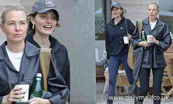 Lara Worthington and Phoebe Tonkin are all smiles while grabbing lunch together in Malibu