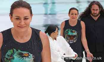 Michelle Bridges looks frosty while filming The Celebrity Apprentice in Bondi
