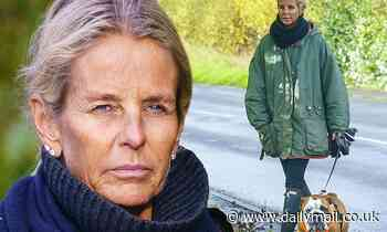 Ulrika Jonsson, 53, walks her pet Bulldog after hitting out at those criticising THAT naked selfie