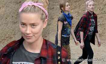 Amber Heard dons a plaid shirt as she enjoys a relaxed fall hike with pals in Los Angeles