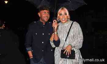 Amelia Lily puts on a leggy display in a silver mini dress as she enjoys a night out in Mayfair