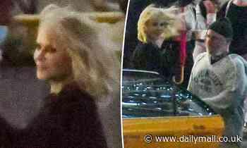 Nicole Kidman battles blustery weather as she films Nine Perfect Strangers in Sydney's Barangaroo