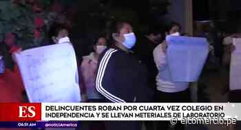 Independencia: roban por cuarta vez colegio y se llevan materiales de laboratorio - El Comercio Perú