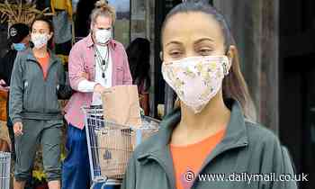 Zoe Saldana loads up on groceries with husband Marco Perego in Malibu