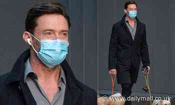 Hugh Jackman wears a protective face mask during stroll with his dogs Dali and Allegra in Manhattan