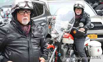 Billy Joel looks biker ready during a ride on a vintage Harley-Davidson motorcycle in The Hamptons