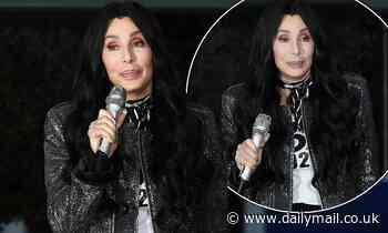 Cher commands attention in a glitzy jacket as she campaigns for Joe Biden and Kamala Harris