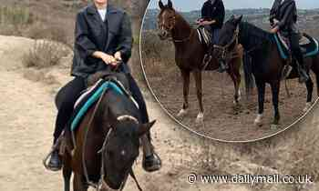 Lara Worthington goes horse riding with gal pal Phoebe Tonkin in Malibu