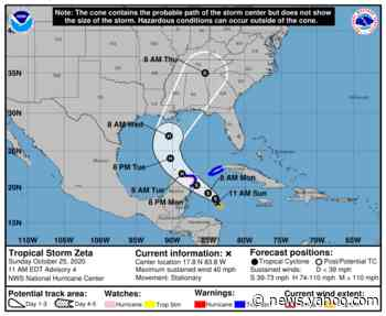 Tropical Storm Zeta forms with sights set on Gulf Coast; could be a hurricane by Tuesday