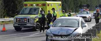 [PHOTOS] Autoroute Laurentienne: il fuit après une collision en sens inverse