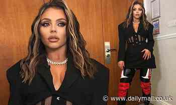 Jesy Nelson sizzles in a plunging black dress and leather trousers following debut of Sweet Melody