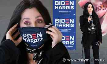 Cher wears Biden-Harris face mask before performing 1995 song Walking In Memphis at Las Vegas rally