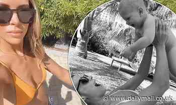 TOWIE's Chloe Lewis soaks up the sun in a yellow bikini as she poses for sweet snaps with baby son