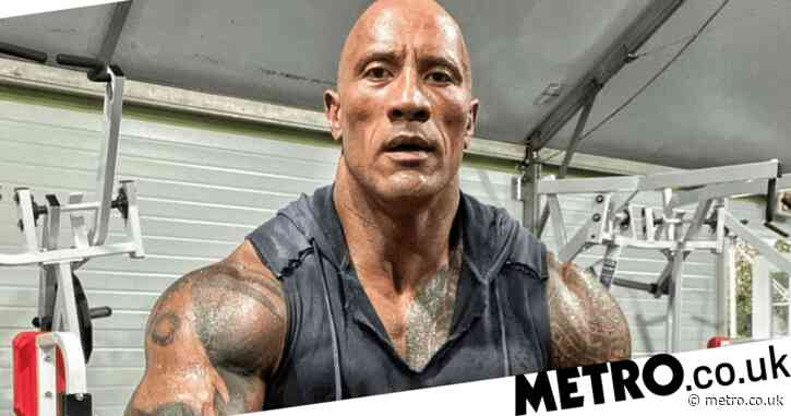 Dwayne Johnson proves he's an absolute machine in sweaty gym snap as he tells fans he's 'grateful to grind'