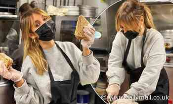 Louise Redknapp prepares meals for schoolkids in need during half-term
