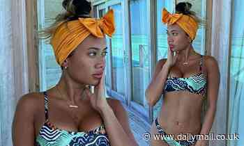 Love Island's Kaz Crossley poses in a patterned bikini in the Maldives