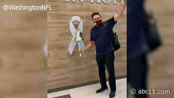 Former Carolina Panthers coach Ron Rivera rings bell to signify final cancer treatment