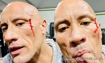 Dwayne 'The Rock' Johnson tastes his own BLOOD while showing off cut he got pumping iron