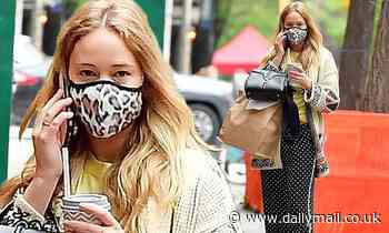 Jennifer Lawrence mixes and matches in leopard print and polka dots to meet friends for lunch in NYC